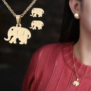 Jewelry - Stainless steel Gold elephant necklace earring set